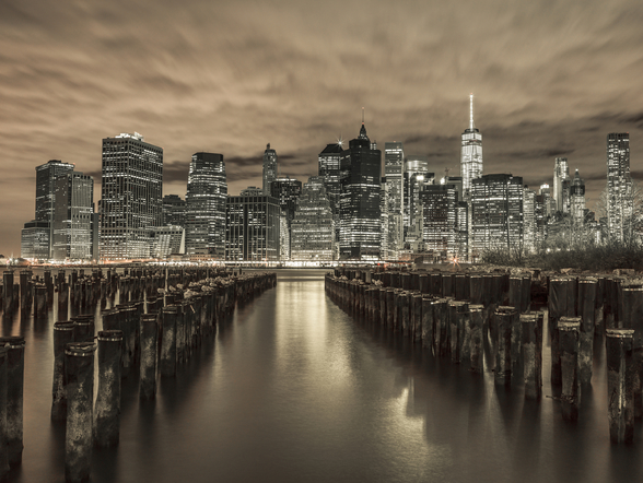 Manhattan Skyline with Rows of Groynes wallpaper mural