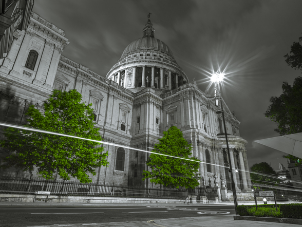 St Pauls Cathedral Green Colour Splash wall mural