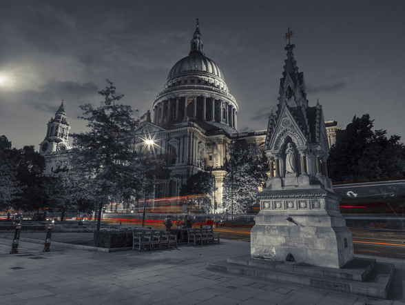 Moody St Pauls Cathedral at Night mural wallpaper