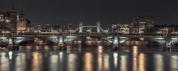 Tower Bridge London Night Panoramic wall mural