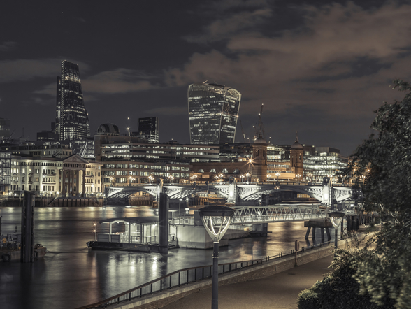 Thames Promenade Moody Night wallpaper mural
