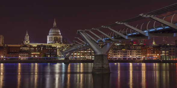 Evening View of Millennium Bridge mural wallpaper