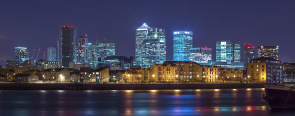 Illuminated London Skyline at Night wall mural