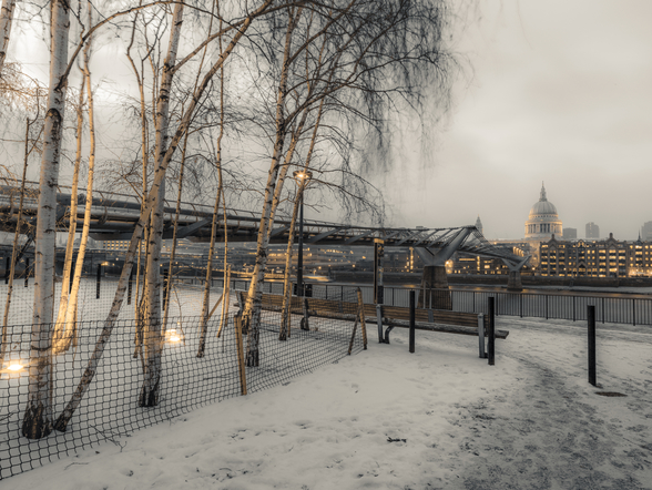 St Paul's Cathedral and Millennium Bridge in Snow wallpaper mural
