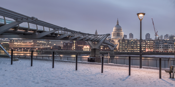 Millennium Bridge in Snow mural wallpaper