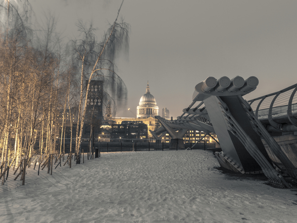 St Pauls Cathedral in the Winter wall mural