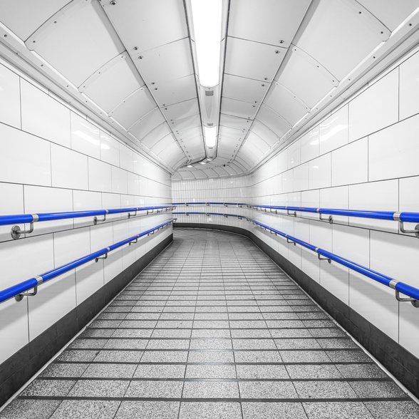 Blue and White Underground wallpaper mural