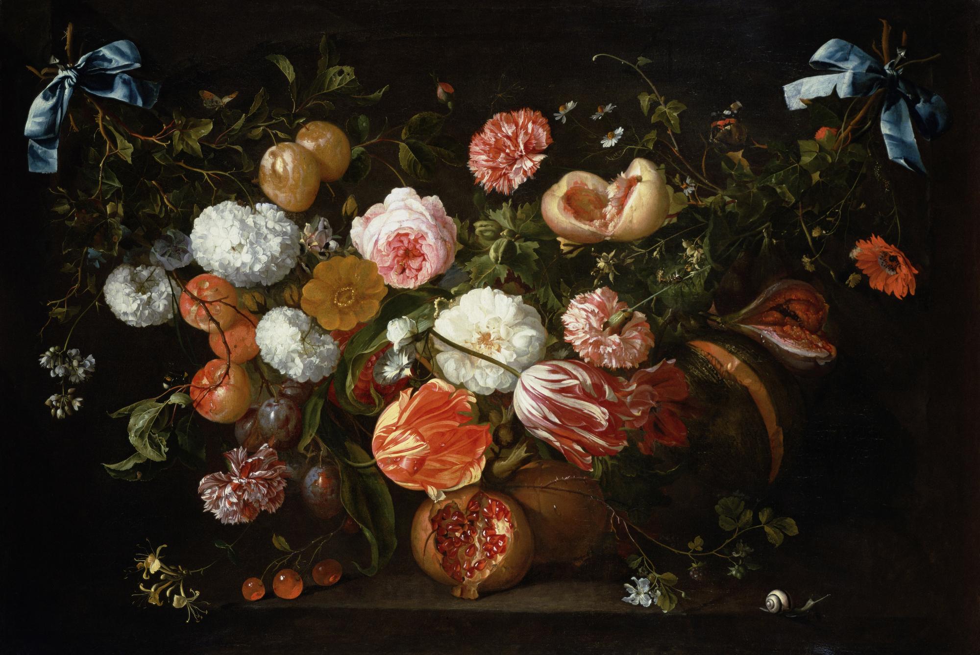 A Garland Of Flowers Oil On Canvas By Jan Davidsz De Heem Mural