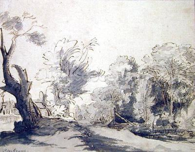 Rembrandt harmensz van rijn landscape pen and ink and for Mural de chine