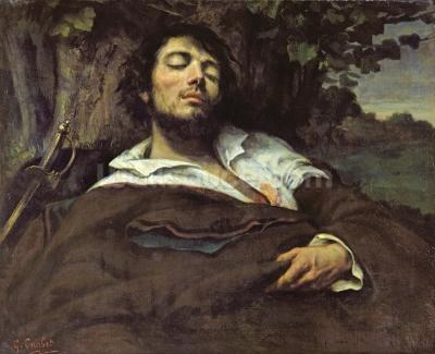 courbet gustave the wounded man oil on canvas self portrait wall mural wallsauce usa. Black Bedroom Furniture Sets. Home Design Ideas