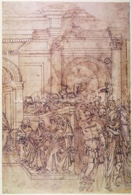Buonarroti michelangelo sketch of a crowd for a for Audience wall mural