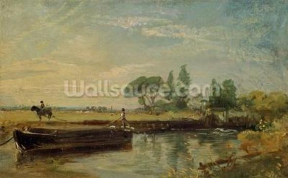 A Barge below Flatford Lock, c.1810 (oil on canvas) mural wallpaper
