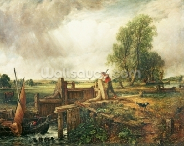 A Boat Passing a Lock (oil on canvas) mural wallpaper