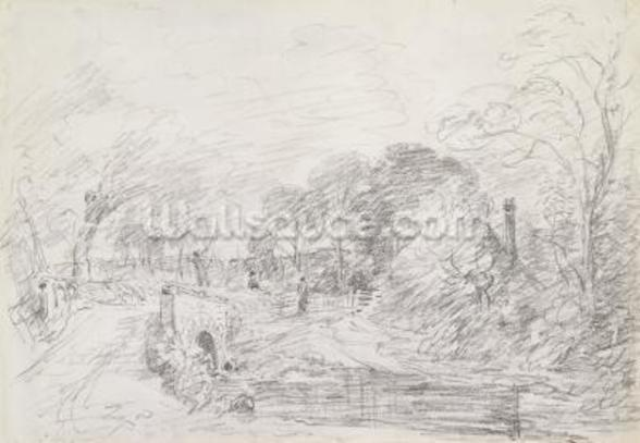A Bridge near Salisbury Court, c.1829 (graphite on paper) wallpaper mural