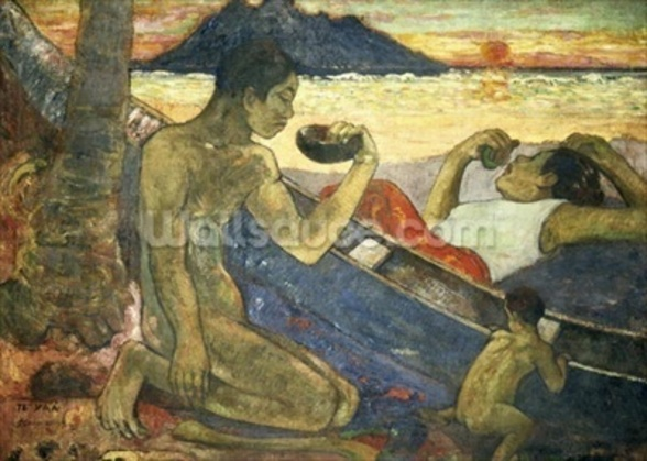 A Canoe (Tahitian Family), 1896 (oil on canvas) wallpaper mural