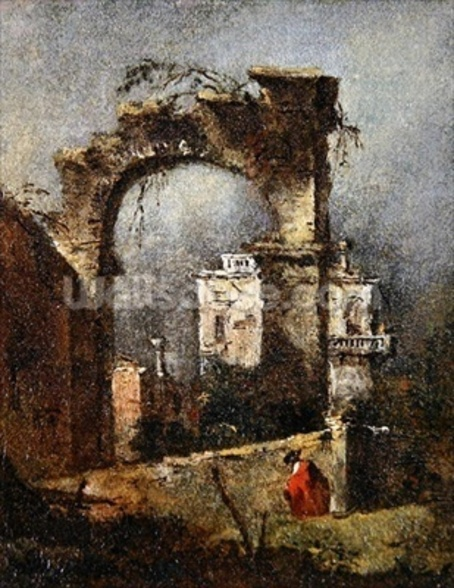 A Capriccio - A Ruined Arch, 18th cenury wall mural