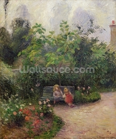 A Corner of the Garden at the Hermitage, Pontoise, 1877 (oil on canvas) wallpaper mural