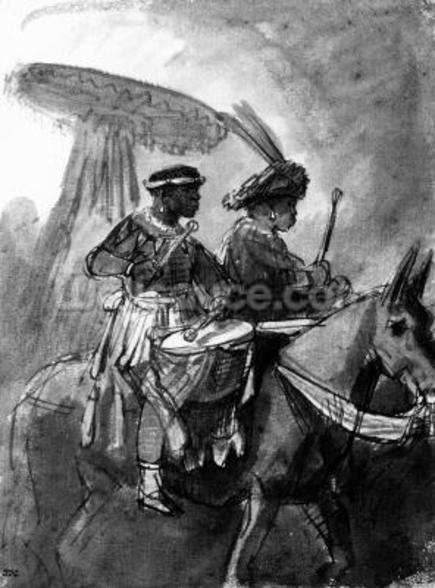 A Drummer and Commander mounted on mules, c.1638 (pen, ink & wash on paper) mural wallpaper