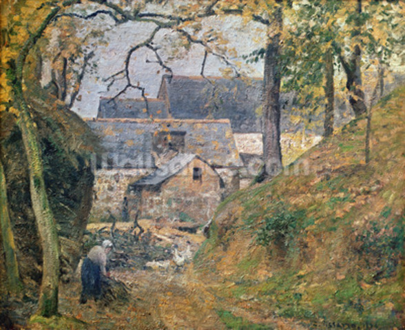 A Farm at Montfoucault, 1894 (oil on canvas) mural wallpaper