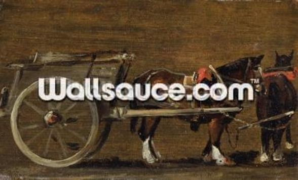 A Farm Cart with two Horses in Harness: A Study for the Cart in Stour Valley and Dedham Village, 1814 (oil on canvas on board) wall mural