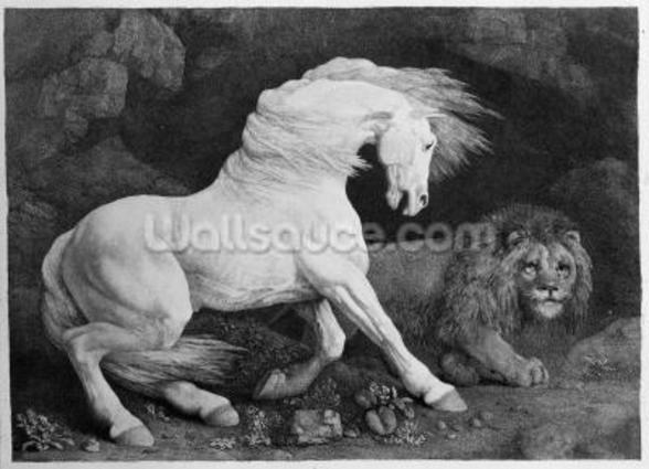 A Horse Affrighted by a Lion, engraved by the artist, 1788 (etching) wall mural