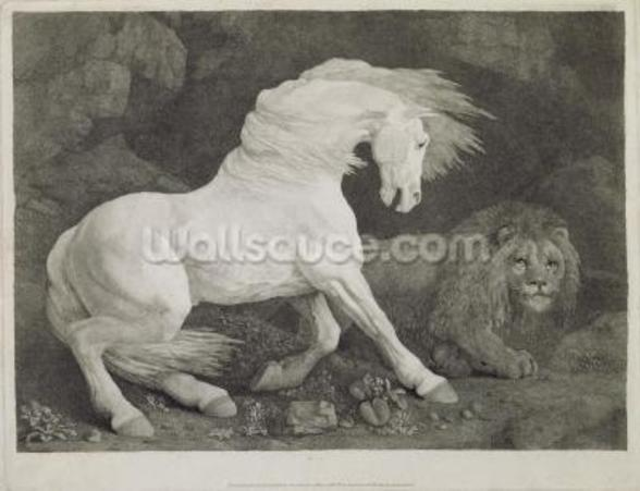 A Horse Affrighted by a Lion, engraved by the artist, pub. 1788 (etching) wall mural