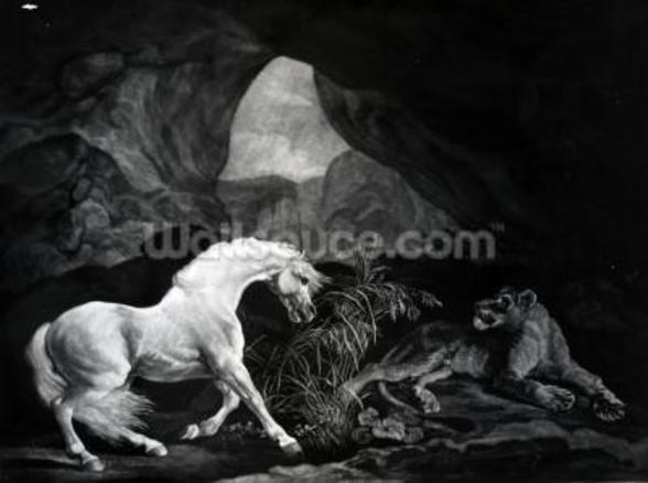 A Horse startled by a Lioness, engraved by Benjamin Green, 1774 (engraving) wallpaper mural