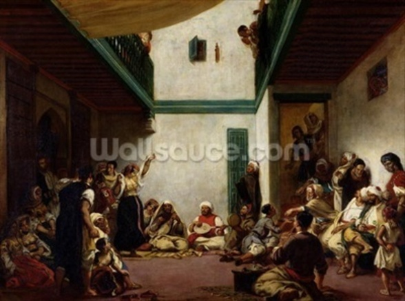 A Jewish wedding in Morocco, 1841 (oil on canvas) wall mural