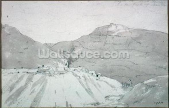 A Lead Mine at the Foot of Mam Tor (watercolour) mural wallpaper