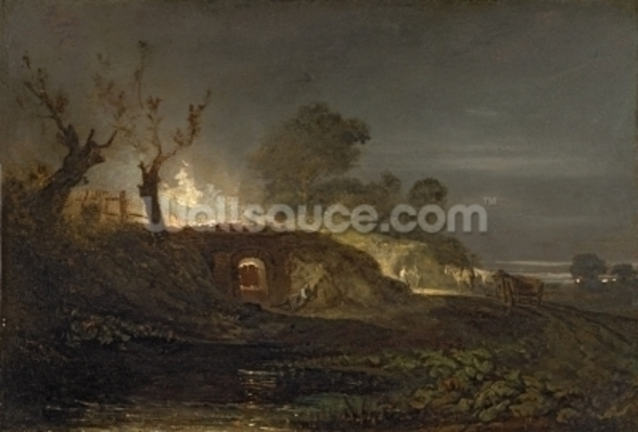 A Lime Kiln at Coalbrookdale, c.1797 (oil on panel) wallpaper mural