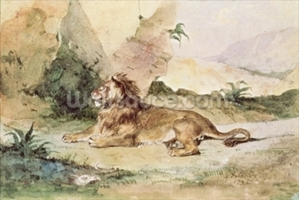 A Lion in the Desert, 1834 (w/c on paper) wall mural