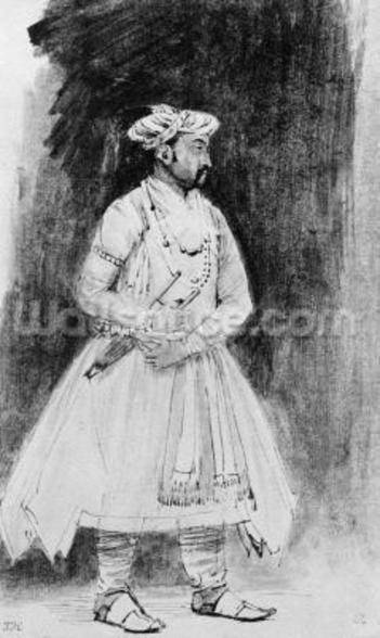 A Mughal Nobleman, c.1659 (pen, ink & wash on paper) wall mural