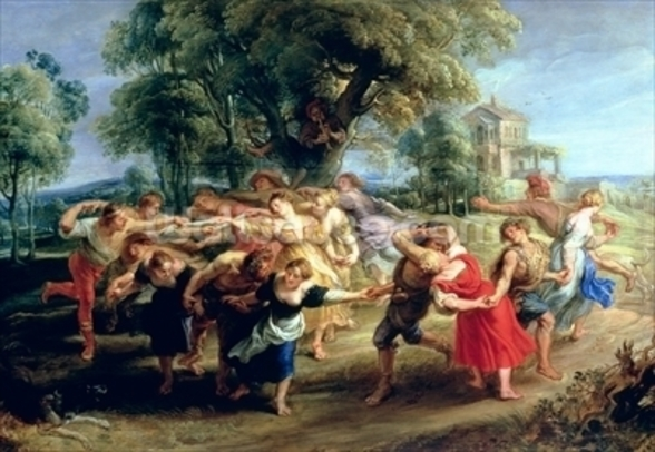 A Peasant Dance, 1636-40 (oil on panel) wall mural