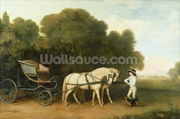 A Phaeton with a Pair of Cream Ponies in the Charge of a Stable-Lad, c.1780-5 (oil on panel) wallpaper mural