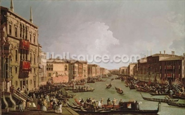 A Regatta on the Grand Canal, c.1735 (oil on canvas) wallpaper mural