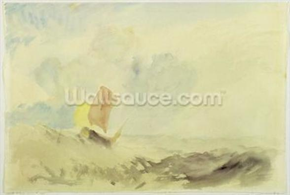A Sea Piece - A Rough Sea with a Fishing Boat, 1820-30 (w/c on paper) wall mural