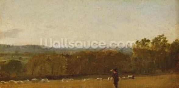 A Shepherd in a Landscape looking across Dedham Vale towards Langham, c.1810 (oil on paper laid on canvas) wall mural