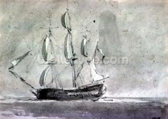 A ship under Sail mural wallpaper