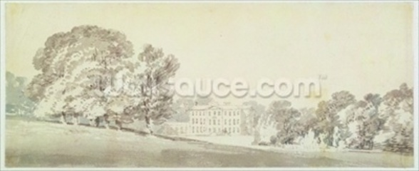 A three storied Georgian house in a park, c.1795 (wash over graphite on paper) wall mural