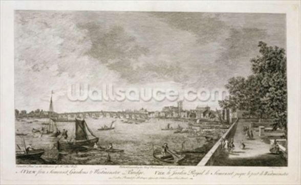 A View from Somerset Gardens to Westminster Bridge, engraved by Johann Sebastian Mueller (c.1715-92) 1750 (engraving) (see 111929) wall mural