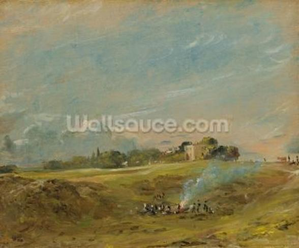 A View of Hampstead Heath, with figures round a bonfire (oil on canvas) wallpaper mural