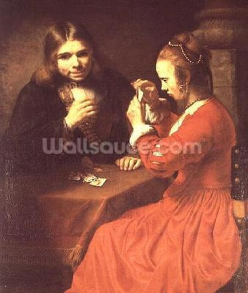 A Young Man and a Girl Playing Cards (oil on canvas) mural wallpaper