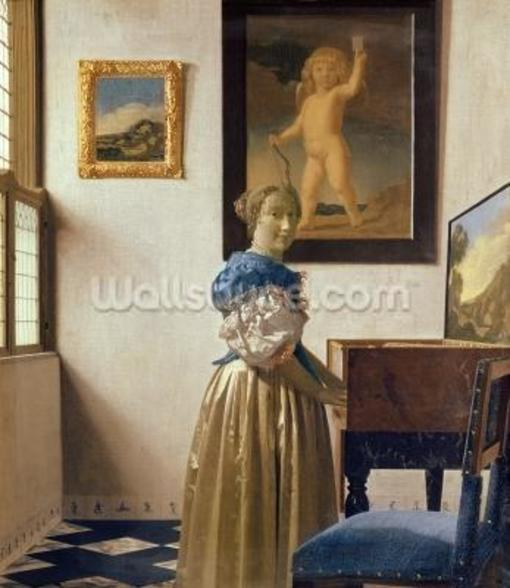 A Young Woman Standing at a Virginal, c.1670-72 (oil on canvas) wall mural