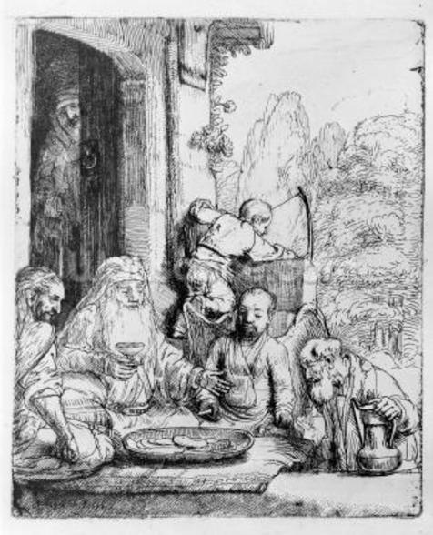 Abraham entertaining the angels, 1656 (etching) wall mural