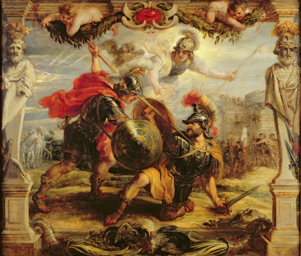 Achilles Defeating Hector, 1630-32 (oil on panel) wall mural