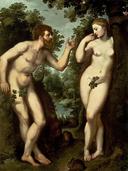 Adam and Eve, c.1599 (oil on panel) wall mural