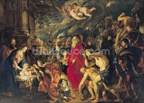 Adoration of the Magi, 1610 (oil on canvas) mural wallpaper