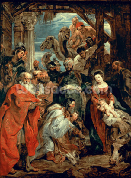 Adoration of the Magi, 1624 (oil on panel) wallpaper mural