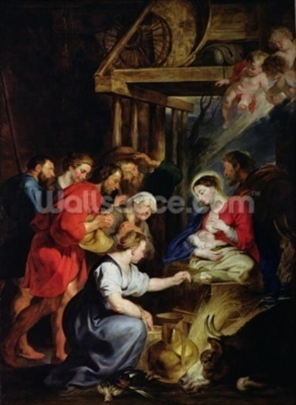 Adoration of the Shepherds (oil on canvas) wall mural