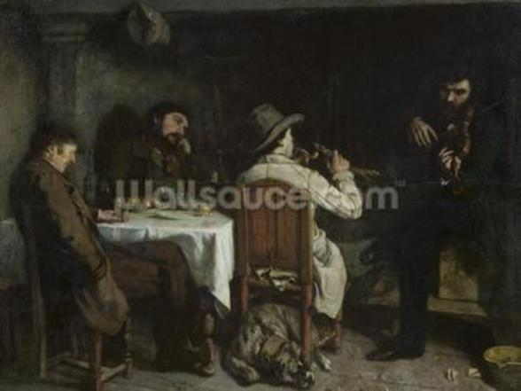 After Dinner at Ornans, 1848 (oil on canvas) wall mural